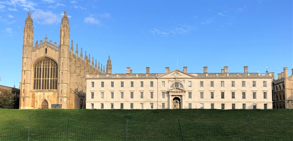 A picture of Kings College Cambridge taken from the backs