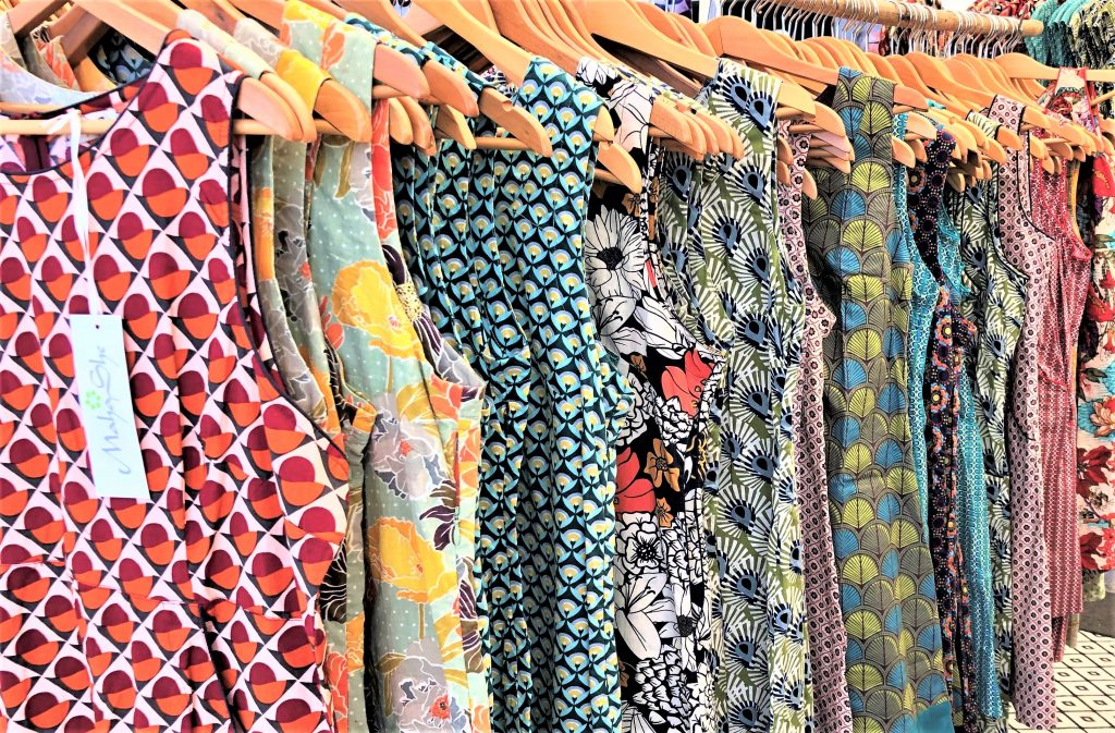 a picture of a rack of dresses taken at Redcliffe sunday market, queensland