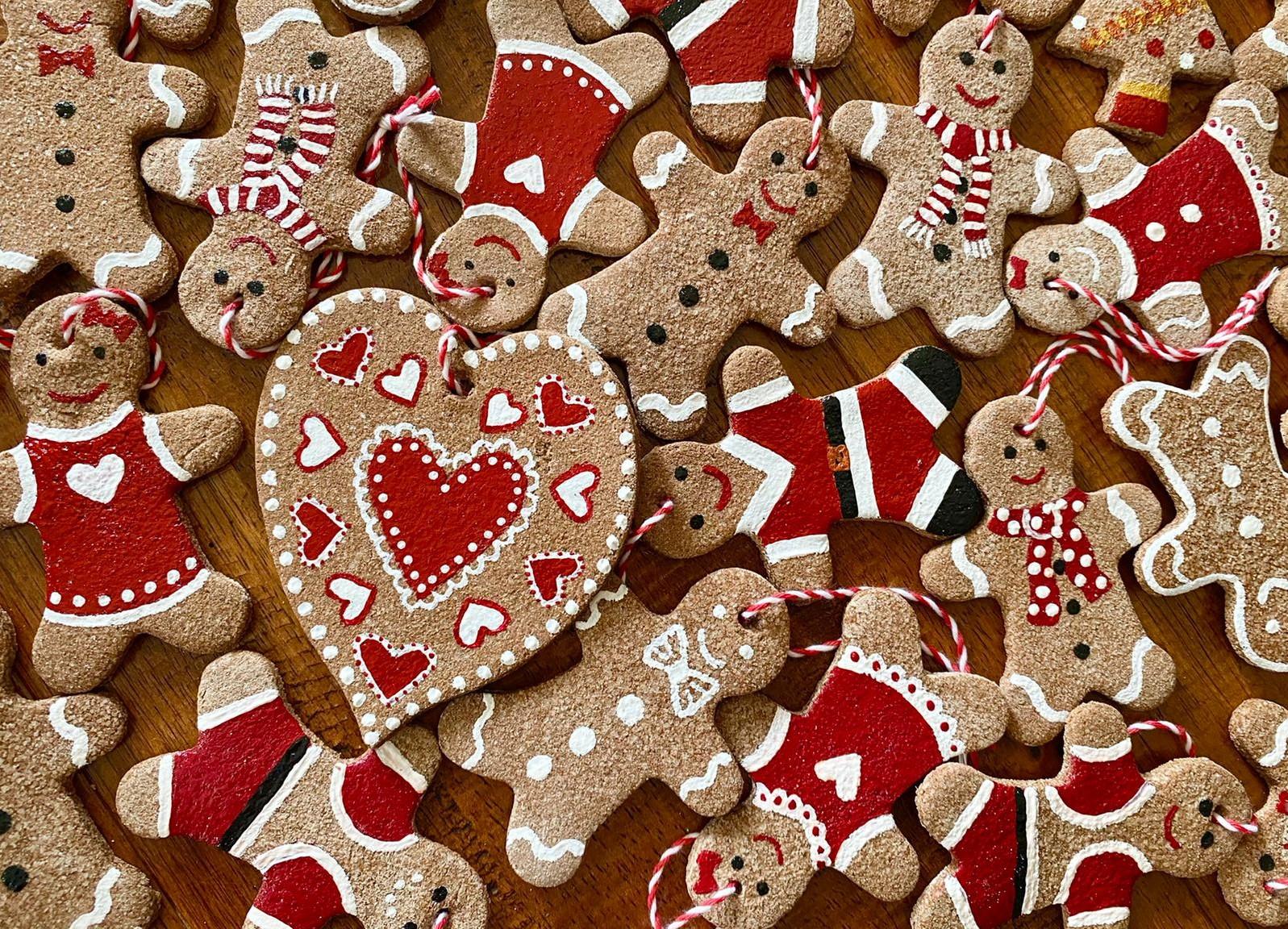 a picture of salt dough gingerbread men